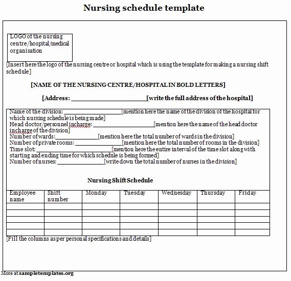Nursing Shift Report Template Unique Best S Of Nursing Schedule Template Excel Free