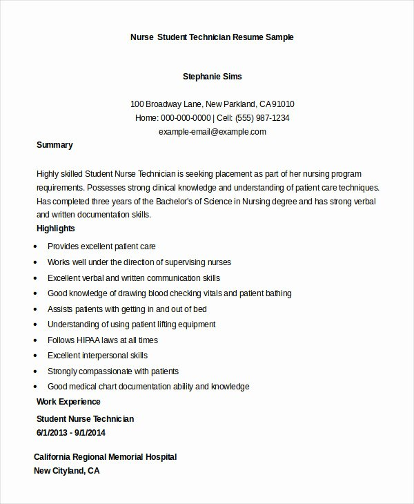 Nursing Student Resume Template Awesome Nursing Student Resume Example 10 Free Word Pdf