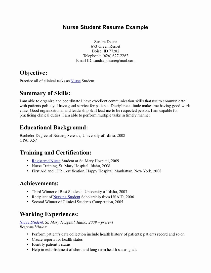 Nursing Student Resume Template Awesome Simple Nursing Resume Sample Samplebusinessresume