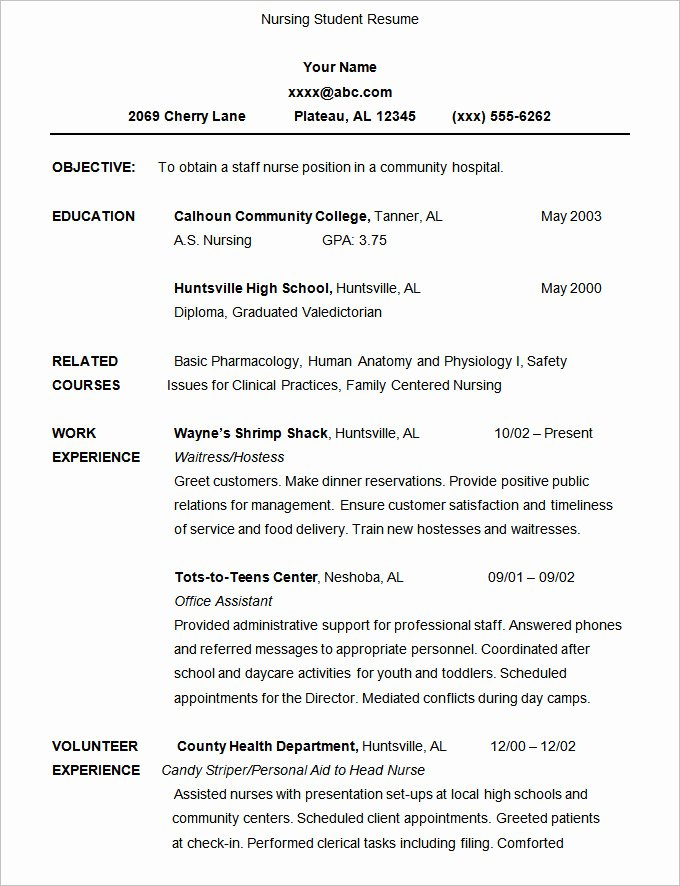 Nursing Student Resume Template Elegant 36 Student Resume Templates Pdf Doc