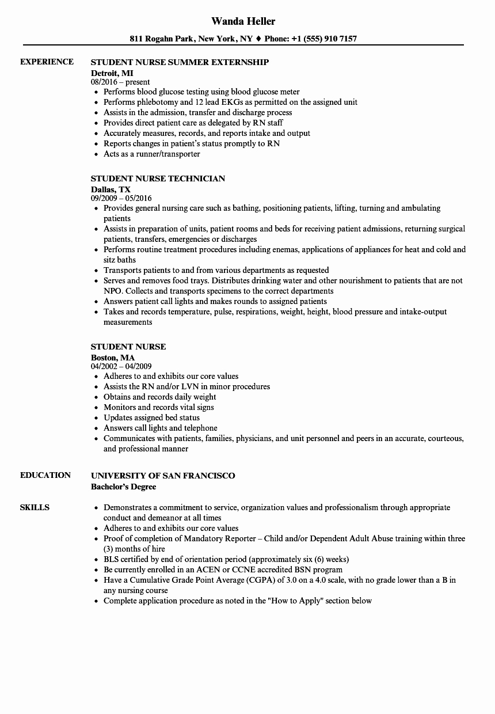 Nursing Student Resume Template Elegant Student Nurse Resume Samples