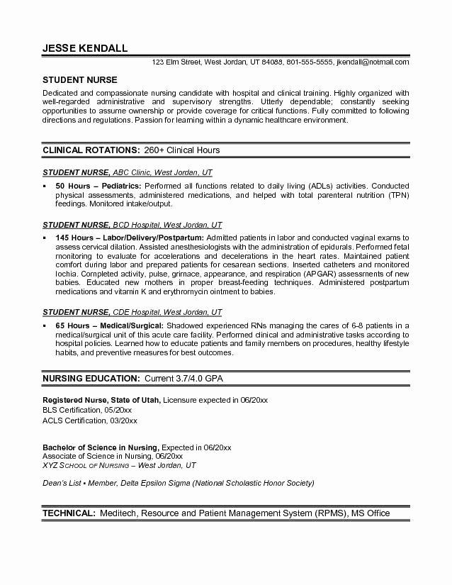 Nursing Student Resume Template Fresh Example Student Nurse Resume Free Sample