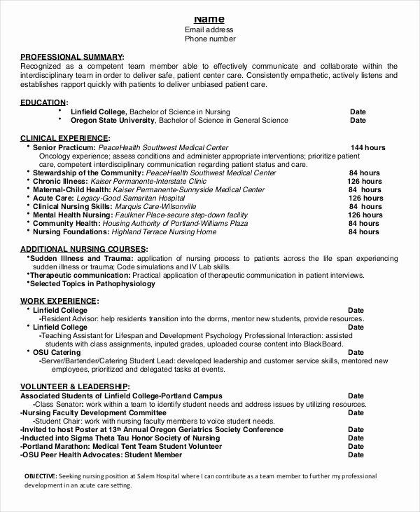 Nursing Student Resume Template Fresh Nursing Student Resume Example 10 Free Word Pdf