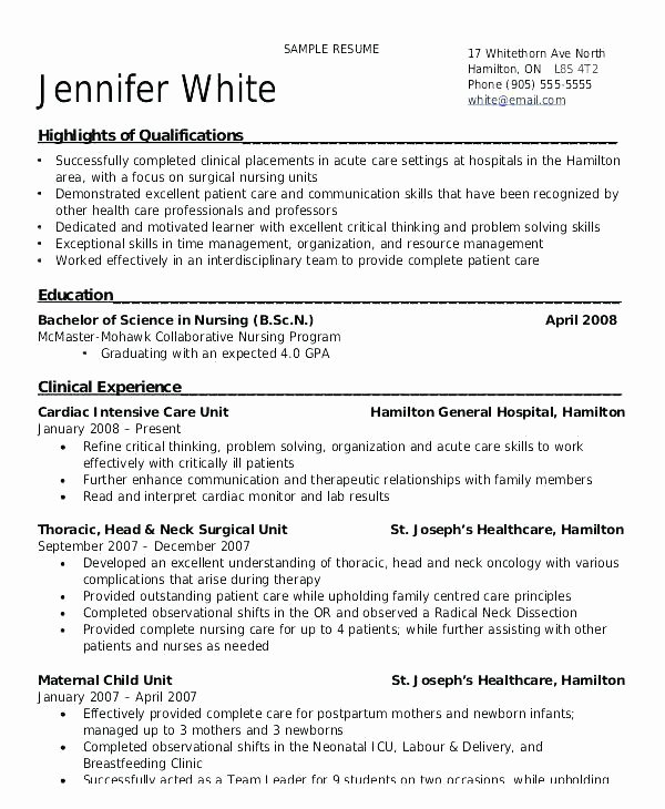 Nursing Student Resume Template Lovely Nurse Resume Example – Mkmafo
