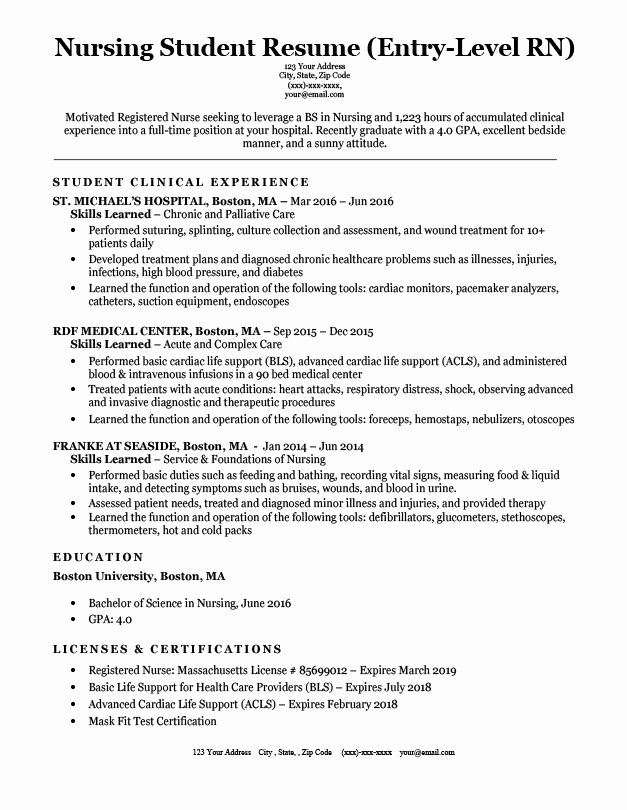 Nursing Student Resume Template Luxury Entry Level Nursing Student Resume Sample & Tips