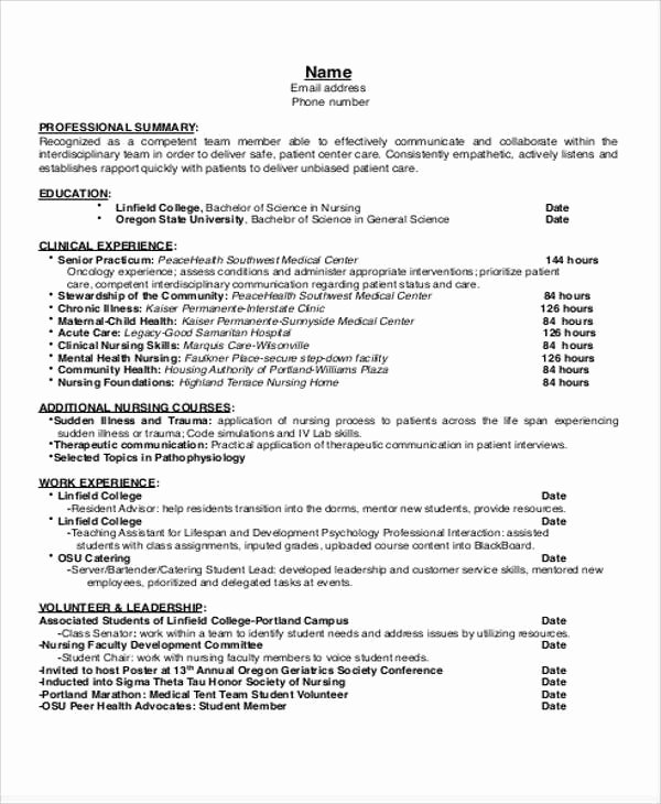 Nursing Student Resume Template New 8 Sample Student Nurse Resumes