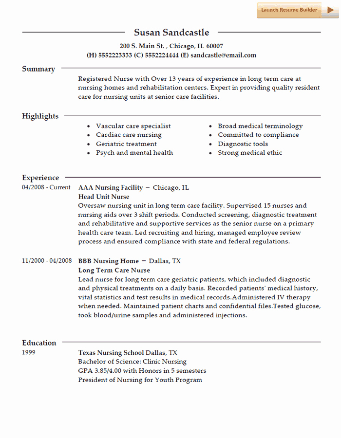 Nursing Student Resume Template New Nurse Resume Template