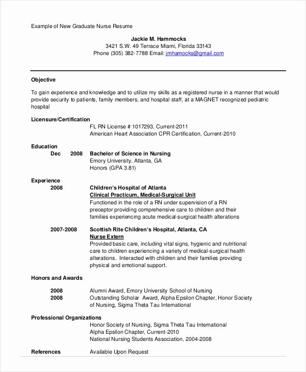 Nursing Student Resume Template New Nursing Student Resume Example 10 Free Word Pdf