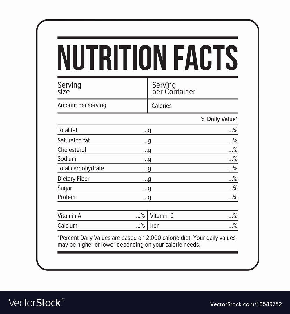 Nutrition Facts Label Template Unique Nutrition Facts Label Template Royalty Free Vector Image