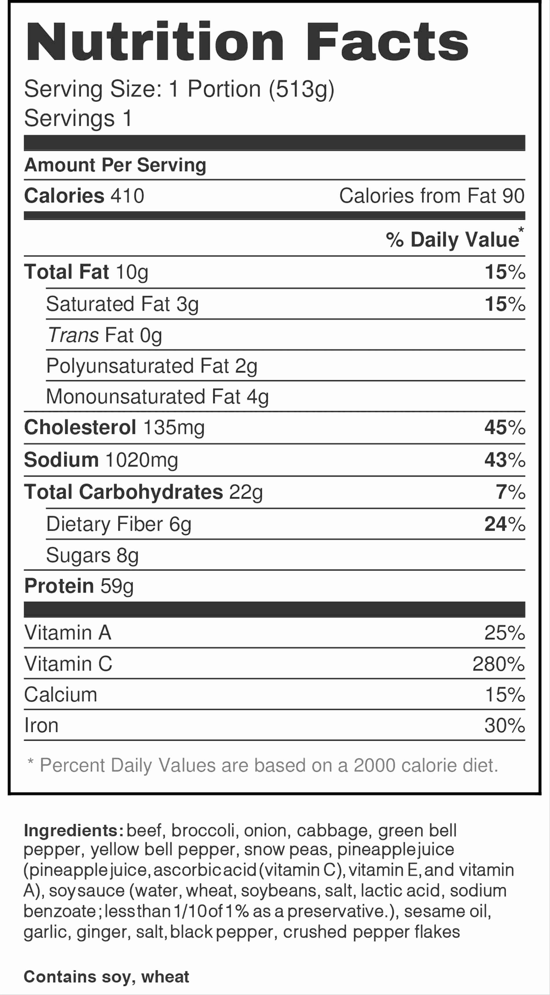 blank nutrition label template excel
