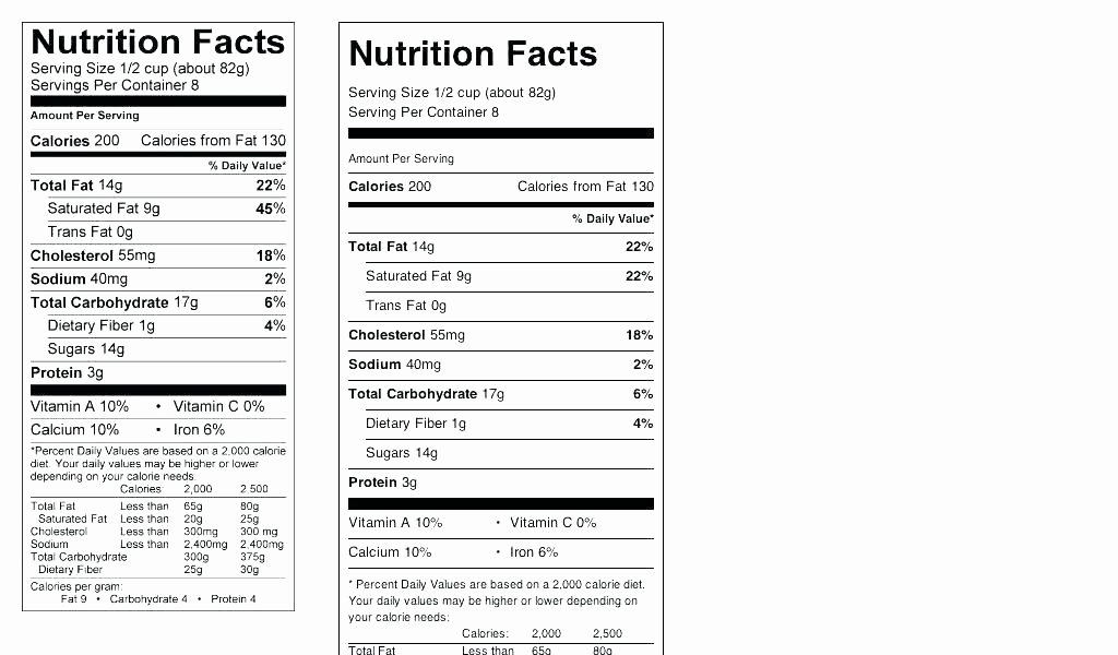 Nutrition Label Template Free Beautiful Food Nutrition Label Template