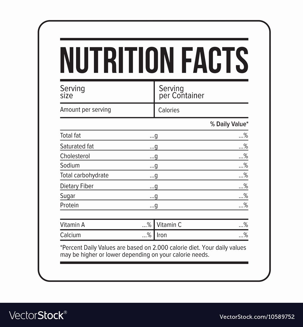 Nutrition Label Template Free Best Of Nutrition Facts Label Template Royalty Free Vector Image