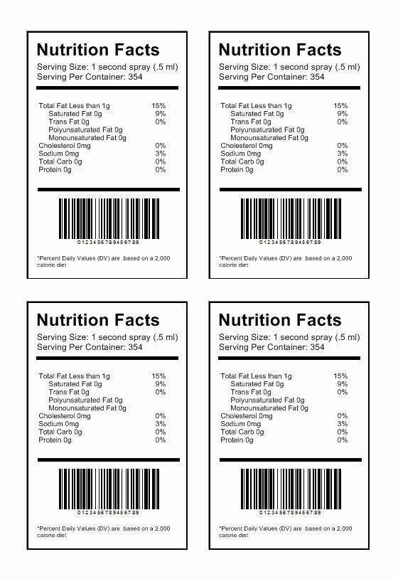 Nutrition Label Template Free Luxury Nutrition Label Template Download