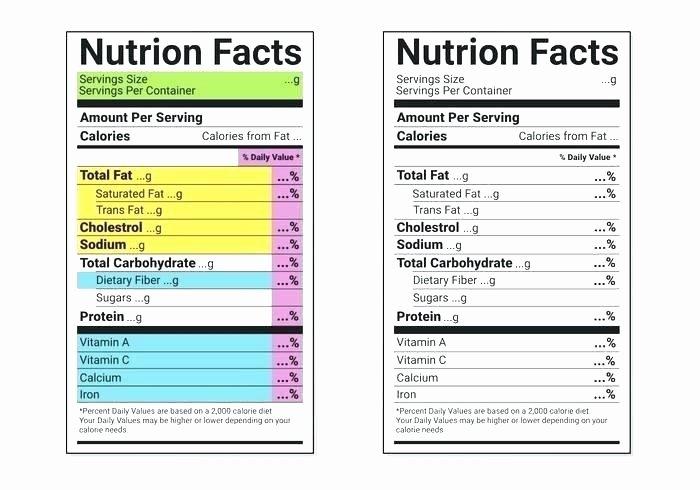 Nutrition Label Template Free Unique Ingre Nts Label Template Nutrition Label Templates