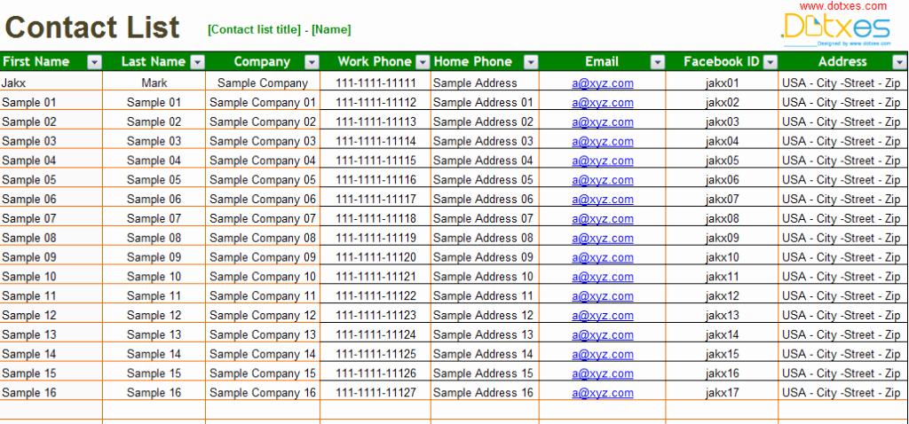 Nyc Report Card Template Fresh Basic Contact List Template Dotxes