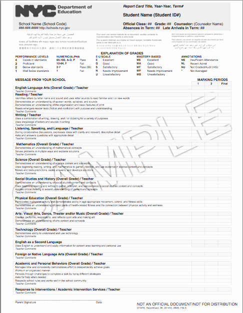 Nyc Report Card Template Fresh Report Card Update