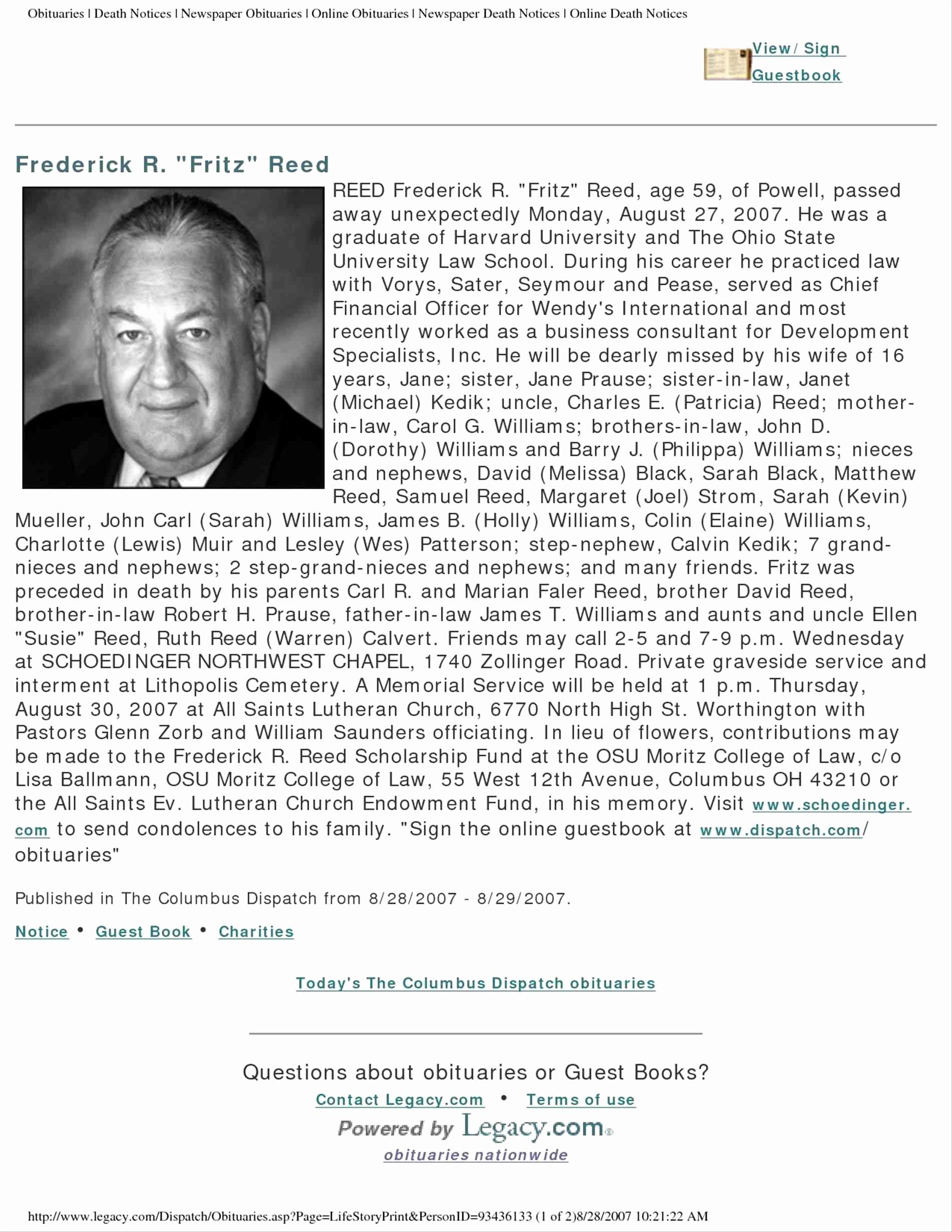 Obituary Template Google Docs Beautiful Elegant Newspaper Obituary Template Choice Image Template