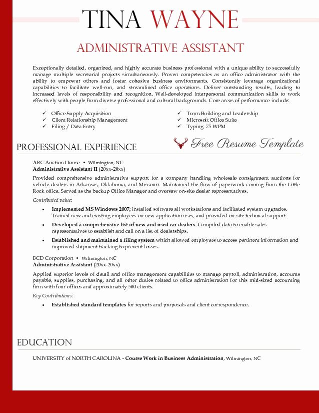 Office assistant Resume Template Awesome Administrative assistant Resume Template ⋆ Resume Templates