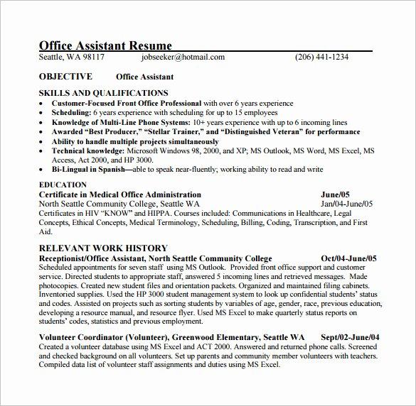 Office assistant Resume Template Elegant 24 Best Medical assistant Sample Resume Templates Wisestep