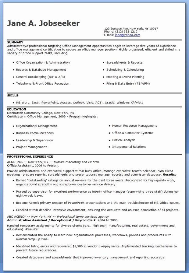 Office assistant Resume Template Fresh Fice assistant Resume Sample