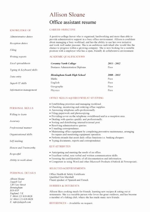 Office assistant Resume Template Inspirational Student Entry Level Fice assistant Resume Template