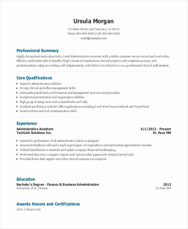Office assistant Resume Template Lovely Entry Level Administrative assistant Resume – 7 Free Pdf