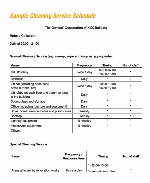 Office Cleaning Checklist Template Awesome Fice Cleaning Schedule Template 10 Free Word Pdf