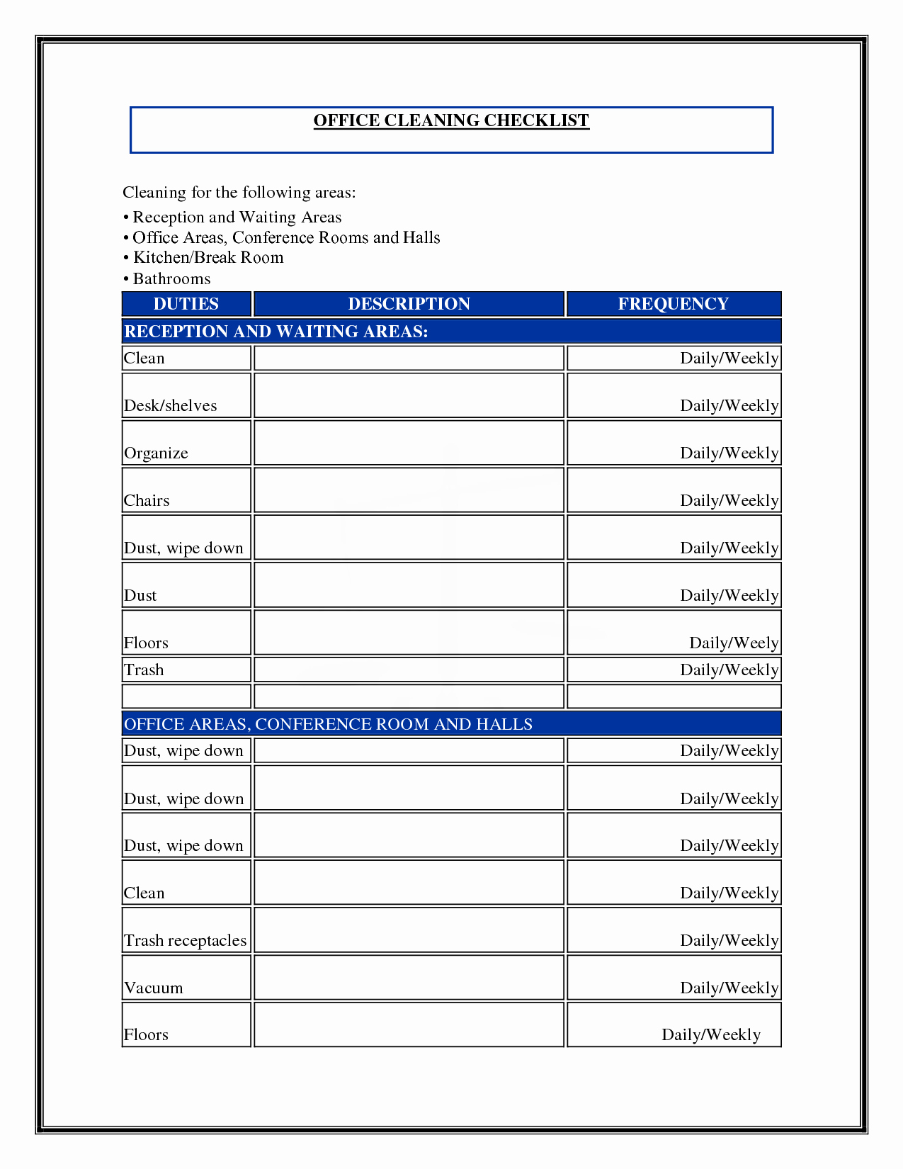 Office Cleaning Checklist Template Beautiful 7 Best Of Mercial Cleaning Checklist Printable