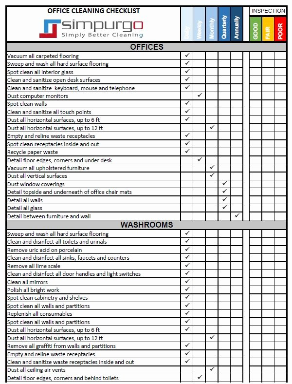 Office Cleaning Checklist Template New Fice Cleaning Checklist and Inspection Template