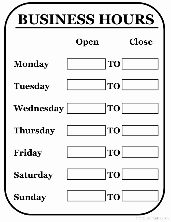 Office Hours Sign Template Awesome Printable Business Hours Sign