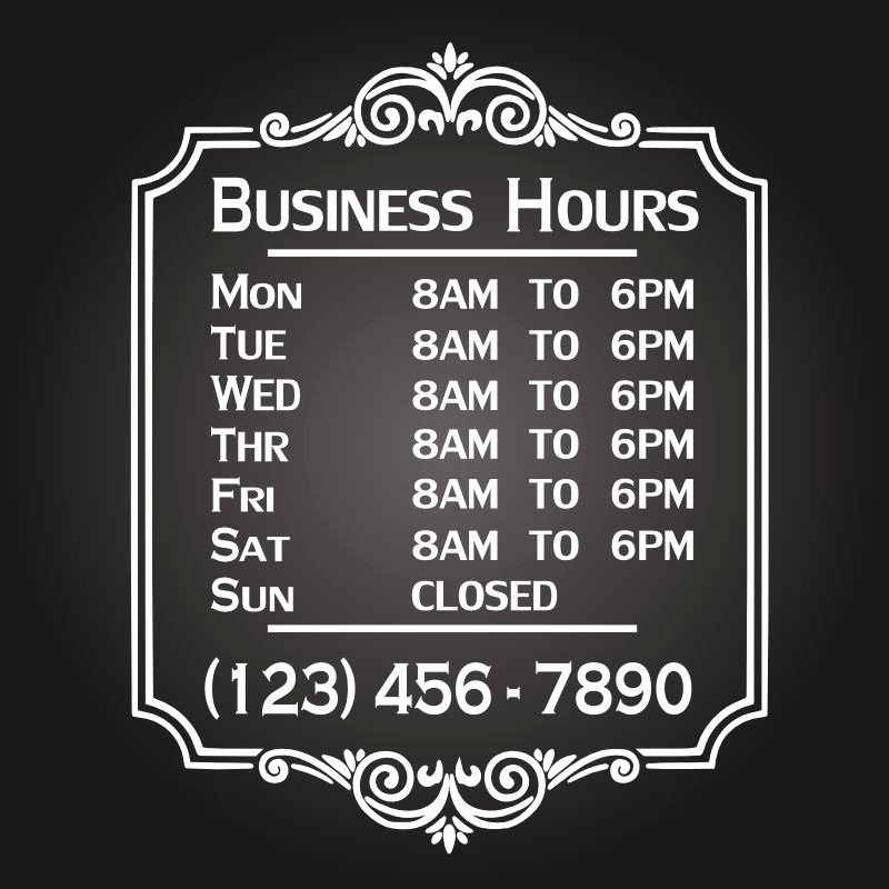 Office Hours Sign Template Beautiful Custom Business Store Hours Vinyl Window Decal 11x14