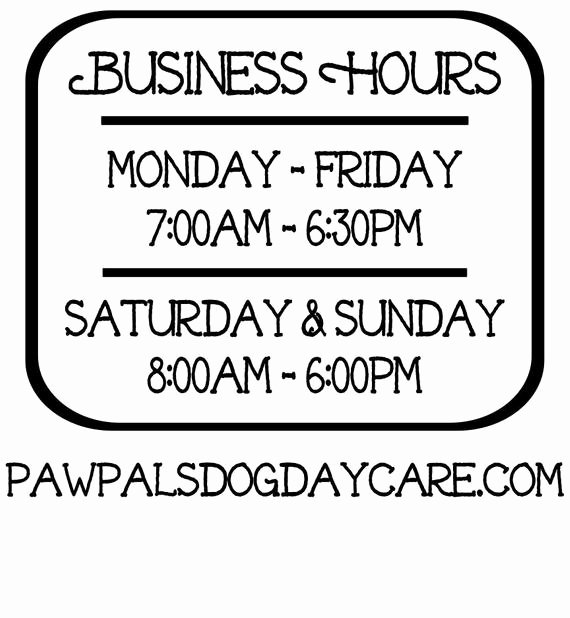 Office Hours Sign Template Elegant Business Hours Vinyl Decal Store Hours Open Hours