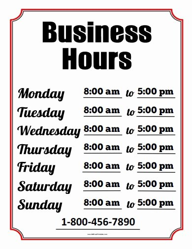 Office Hours Sign Template Lovely 6 Best Of Printable Fice Hours Sign Free