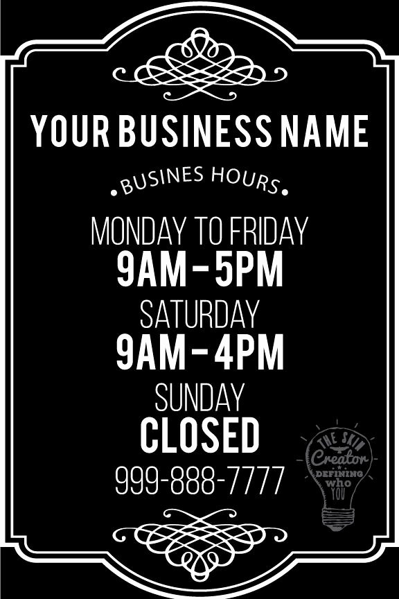 Office Hours Sign Template New Custom Business Store Hours Vinyl Window Decal 8 X 12