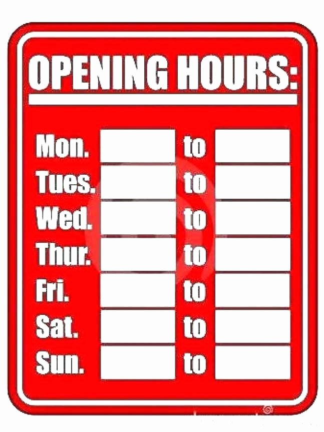 Office Hours Sign Template Unique Fice Hours Sign Template Download Custom Hours Sign