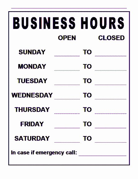 Office Hours Sign Template Unique Free Business Hours Sign Template