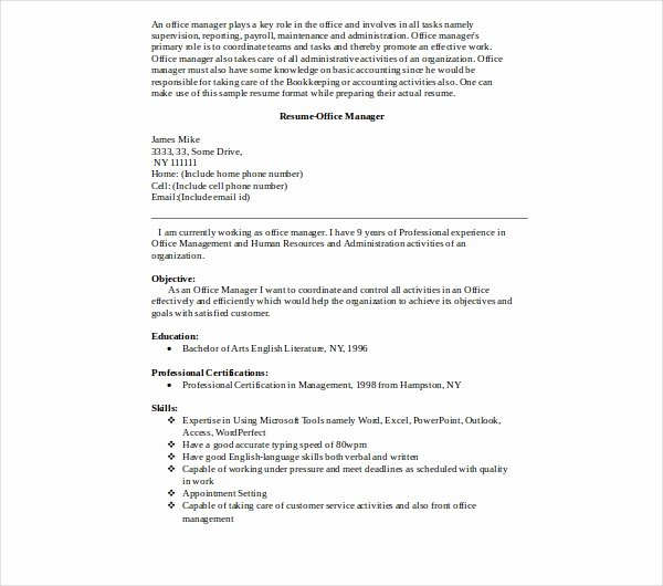Office Manager Resume Template Awesome 8 Fice Manager Resume Templates Pdf Doc