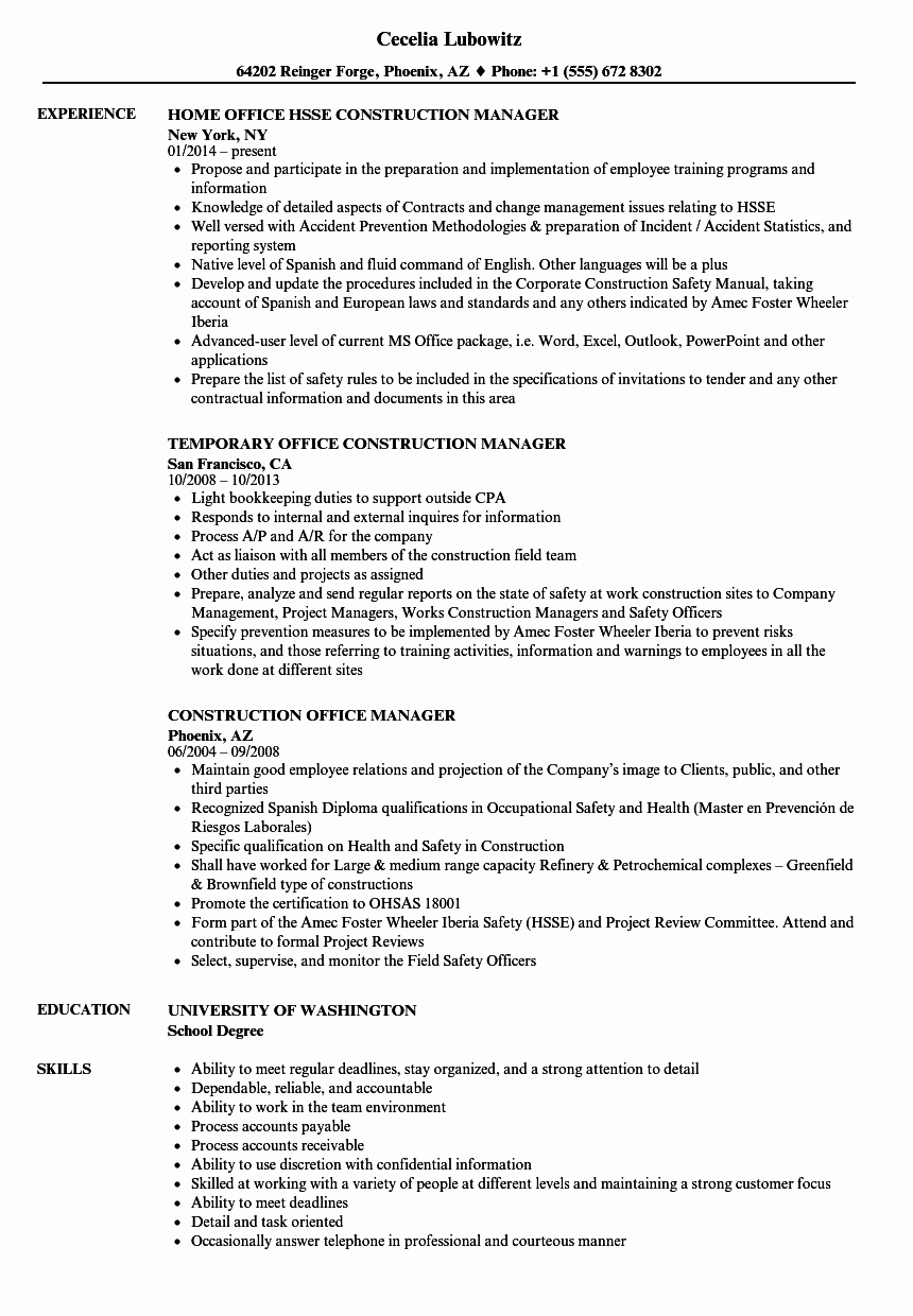 Office Manager Resume Template Best Of Construction Fice Manager Resume Samples