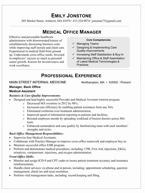 Office Manager Resume Template Best Of Medical Fice Manager Resume
