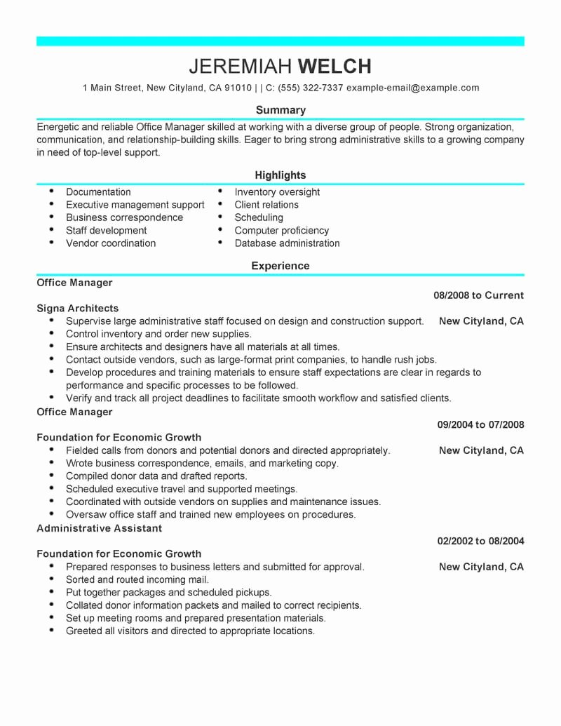 Office Manager Resume Template Elegant Best Fice Manager Resume Example