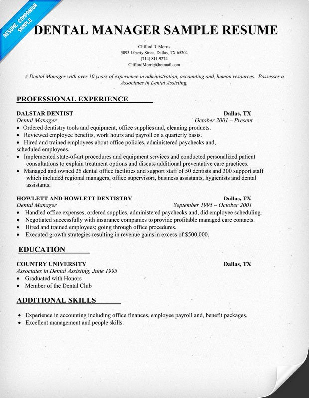 Office Manager Resume Template Fresh Dental Fice Manager Resume Samples