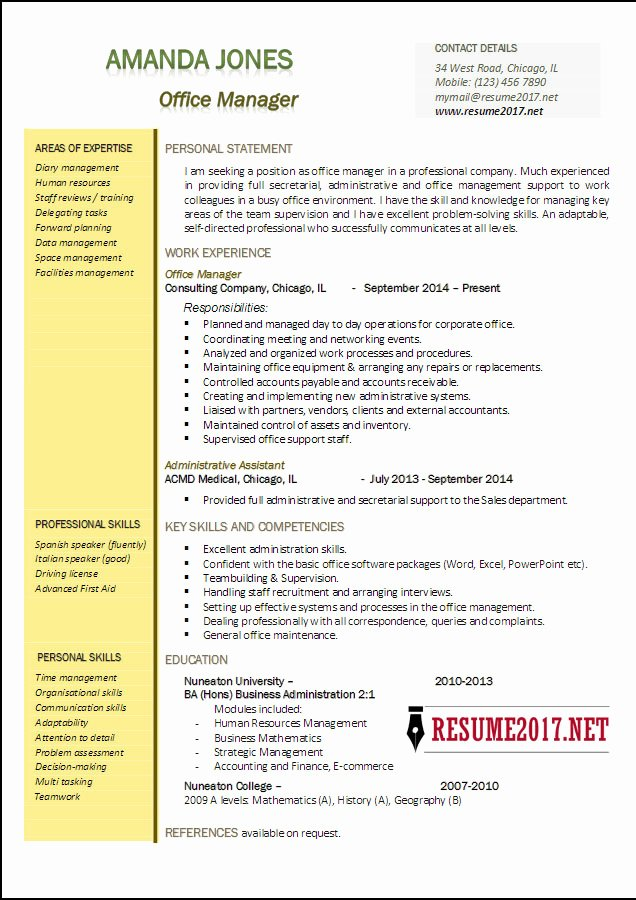 Office Manager Resume Template Fresh Fice Manager Resume Examples 2017