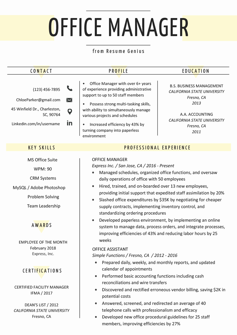 Office Manager Resume Template Fresh Fice Manager Resume Sample & Tips