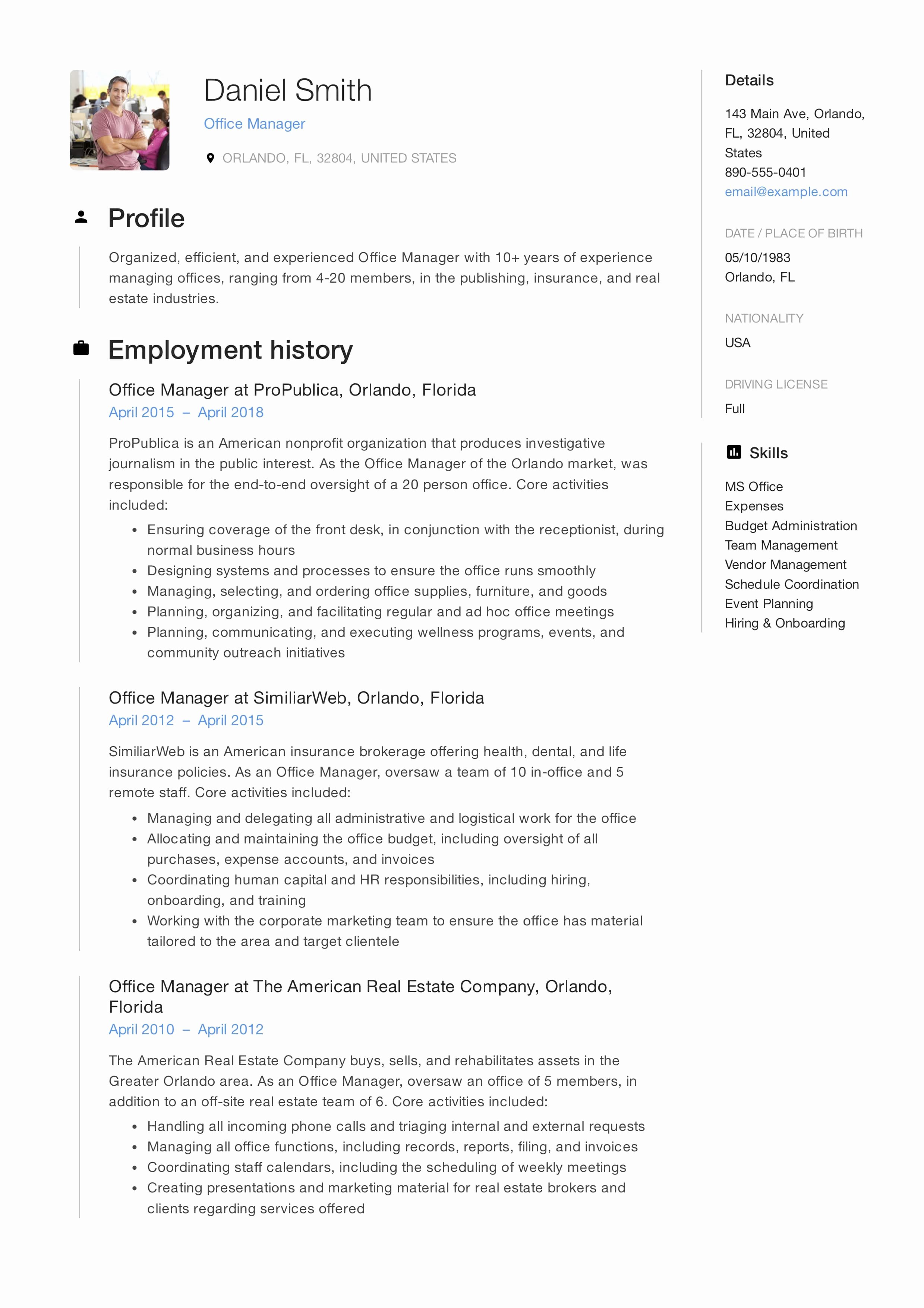 Office Manager Resume Template Inspirational Guide Fice Manager Resume [ 12 Samples ] Pdf