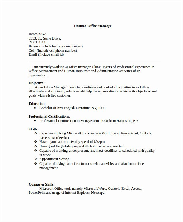 Office Manager Resume Template Lovely Manager Resume Sample Templates 43 Free Word Pdf
