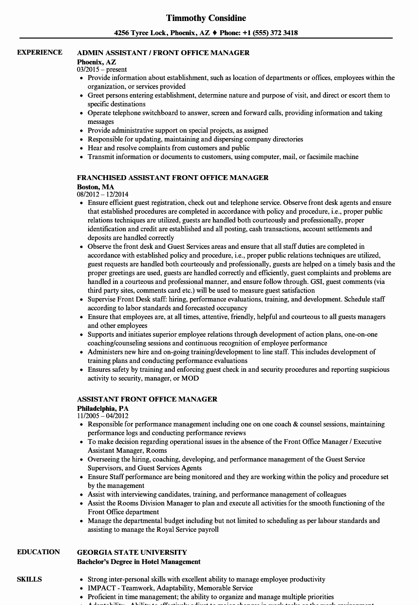 Office Manager Resume Template Luxury assistant Front Fice Manager Resume Samples