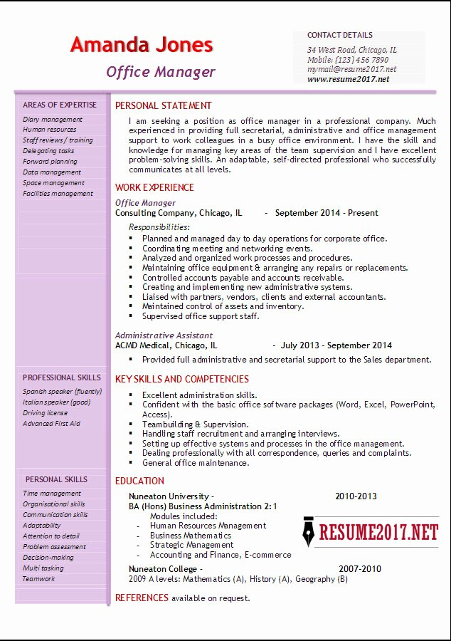 Office Manager Resume Template Luxury Fice Manager Resume Examples 2017