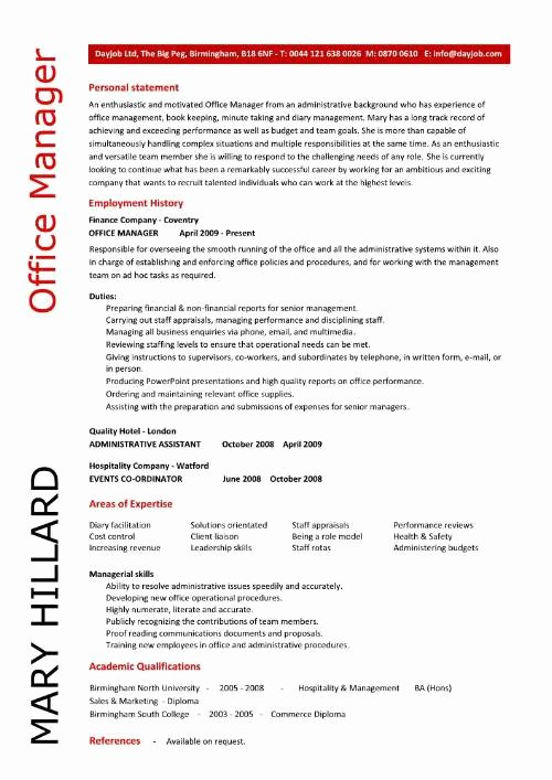 Office Manager Resume Template New Fice Manager Resume Template Samplebusinessresume