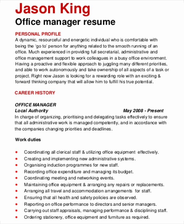 Office Manager Resume Template Unique 54 Manager Resumes In Pdf