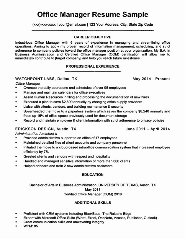 Office Manager Resume Template Unique Fice Manager Resume Sample